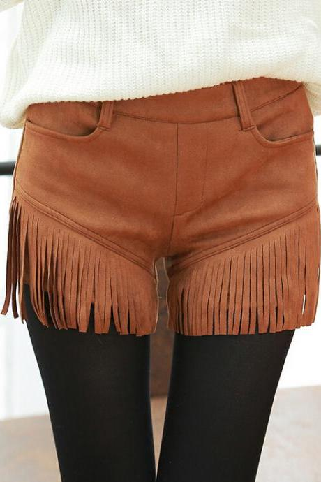 Fashion tassel solid color casual shorts 8180836
