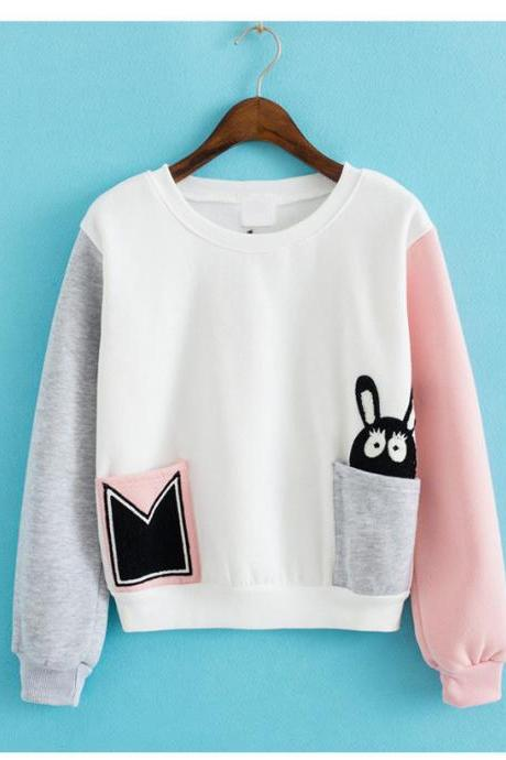 Fashion Stitching Loose Pullovers Sweater 9102871