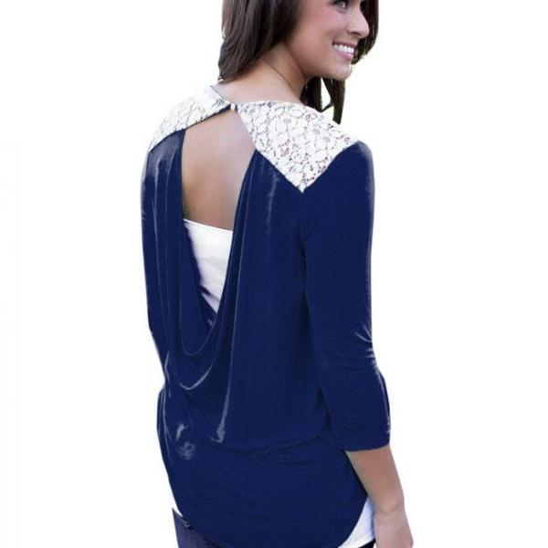 Hollow out Round neck backless T-shirt L56918